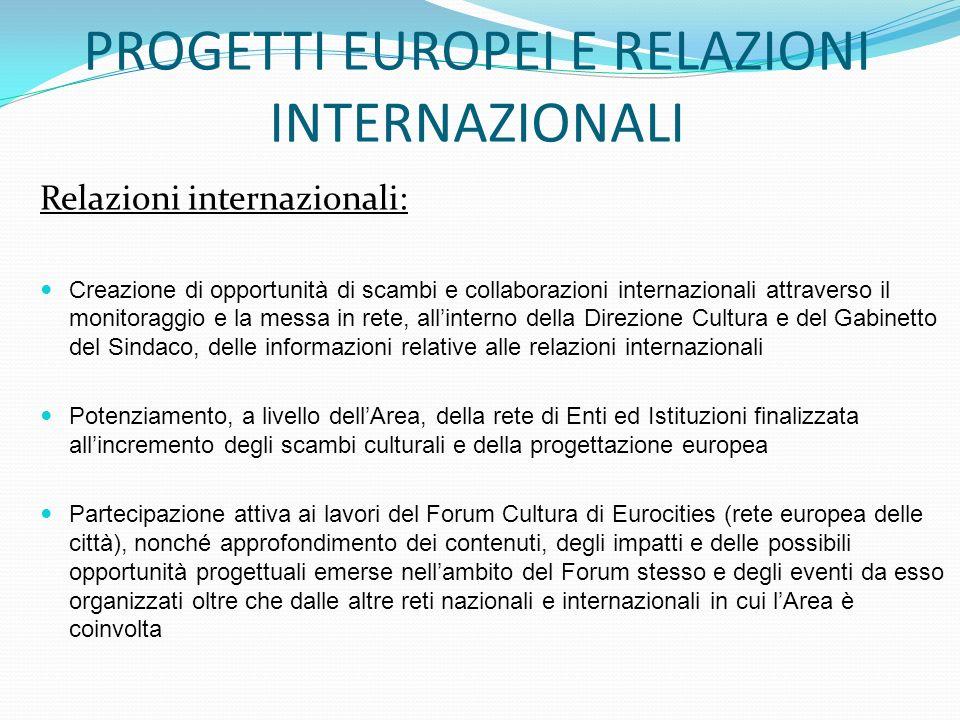 PROGETTI EUROPEI E RELAZIONI INTERNAZIONALI Relazioni internazionali: Creazione di opportunità di scambi e collaborazioni internazionali attraverso il monitoraggio e la messa in rete, allinterno della Direzione Cultura e del Gabinetto del Sindaco, delle informazioni relative alle relazioni internazionali Potenziamento, a livello dellArea, della rete di Enti ed Istituzioni finalizzata allincremento degli scambi culturali e della progettazione europea Partecipazione attiva ai lavori del Forum Cultura di Eurocities (rete europea delle città), nonché approfondimento dei contenuti, degli impatti e delle possibili opportunità progettuali emerse nellambito del Forum stesso e degli eventi da esso organizzati oltre che dalle altre reti nazionali e internazionali in cui lArea è coinvolta