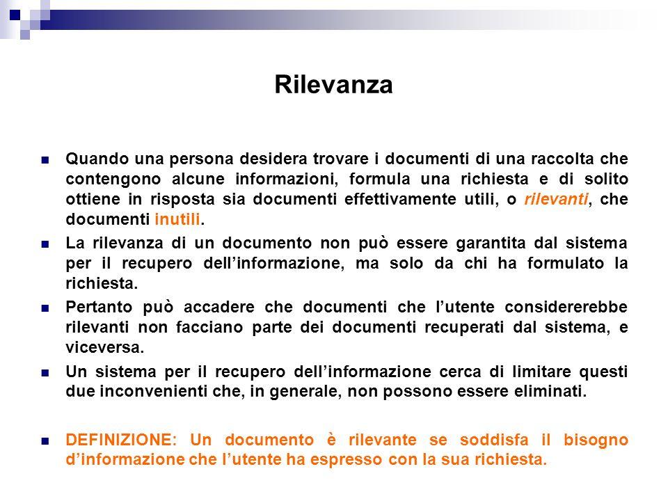 Rilevanza Quando una persona desidera trovare i documenti di una raccolta che contengono alcune informazioni, formula una richiesta e di solito ottien