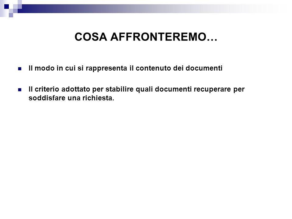 COSA AFFRONTEREMO… Il modo in cui si rappresenta il contenuto dei documenti Il criterio adottato per stabilire quali documenti recuperare per soddisfa