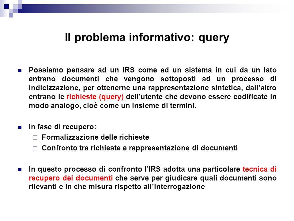 Il problema informativo: query Possiamo pensare ad un IRS come ad un sistema in cui da un lato entrano documenti che vengono sottoposti ad un processo