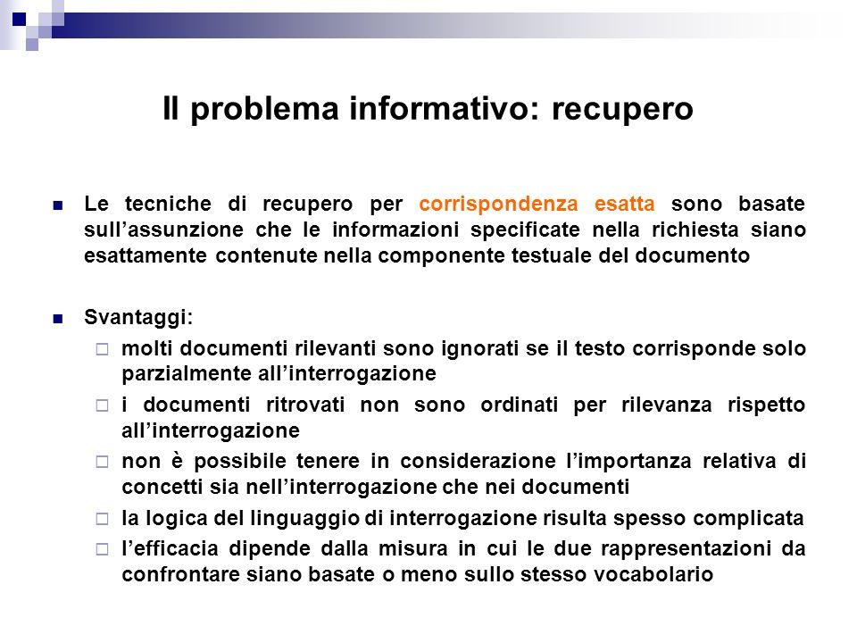 Il problema informativo: recupero Le tecniche di recupero per corrispondenza esatta sono basate sullassunzione che le informazioni specificate nella r