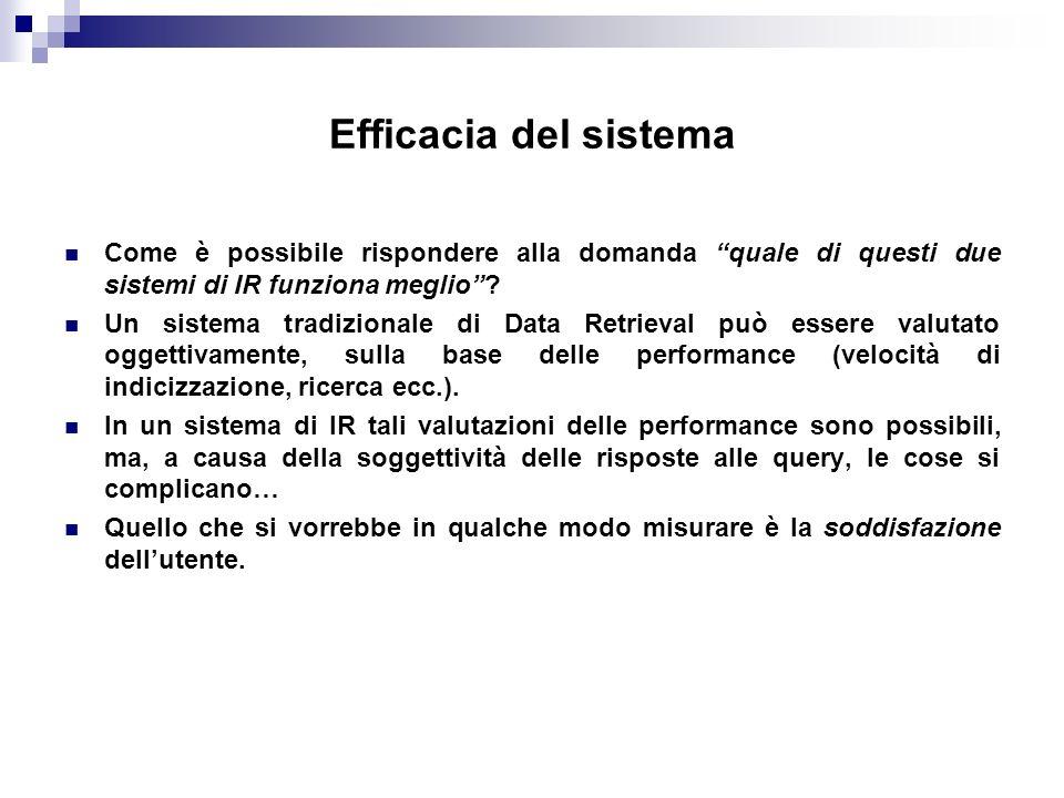 Efficacia del sistema Come è possibile rispondere alla domanda quale di questi due sistemi di IR funziona meglio? Un sistema tradizionale di Data Retr