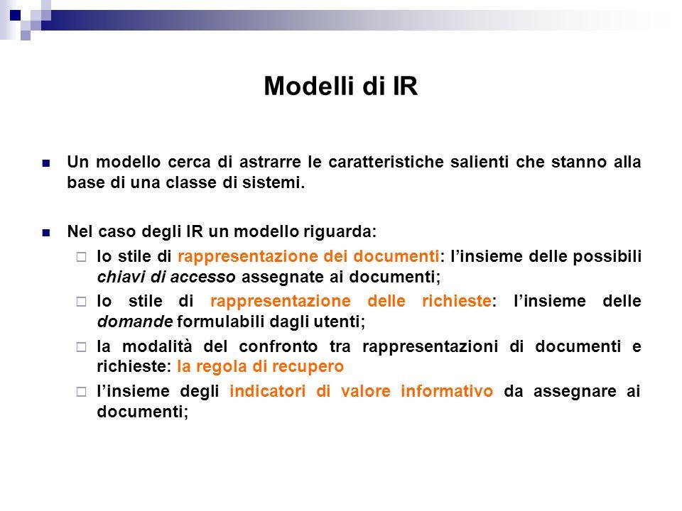 Modelli di IR Un modello cerca di astrarre le caratteristiche salienti che stanno alla base di una classe di sistemi. Nel caso degli IR un modello rig