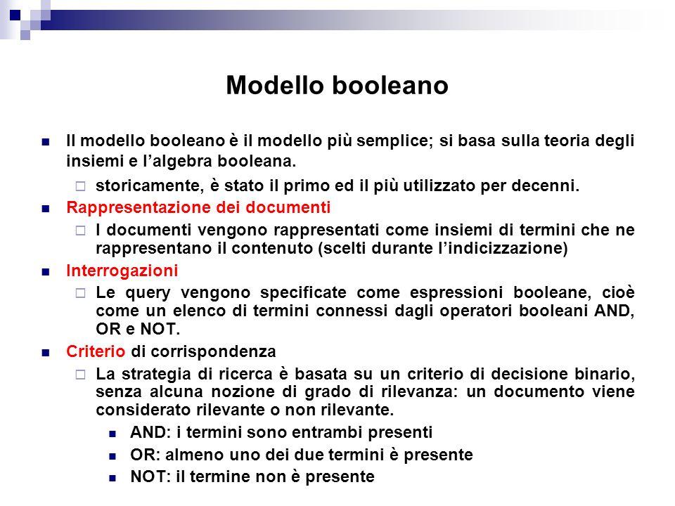 Modello booleano Il modello booleano è il modello più semplice; si basa sulla teoria degli insiemi e lalgebra booleana. storicamente, è stato il primo