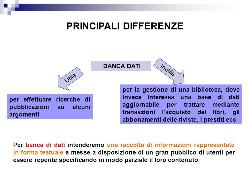 PRINCIPALI DIFFERENZE BANCA DATI per effettuare ricerche di pubblicazioni su alcuni argomenti per la gestione di una biblioteca, dove invece interessa