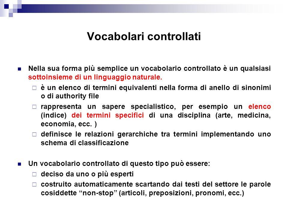 Vocabolari controllati Nella sua forma più semplice un vocabolario controllato è un qualsiasi sottoinsieme di un linguaggio naturale. è un elenco di t