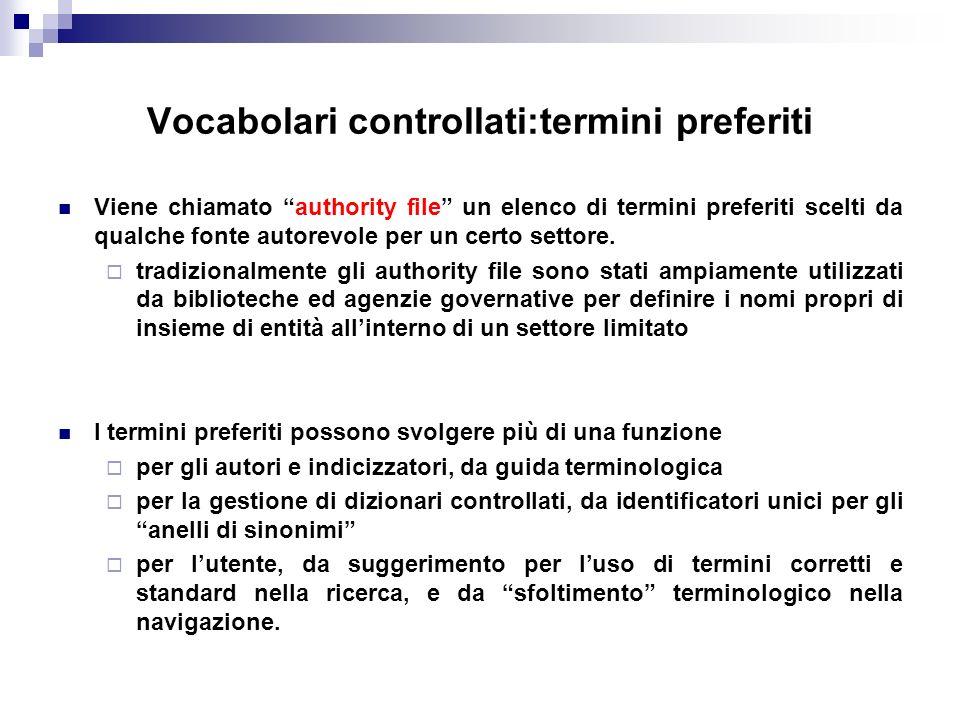 Vocabolari controllati:termini preferiti Viene chiamato authority file un elenco di termini preferiti scelti da qualche fonte autorevole per un certo