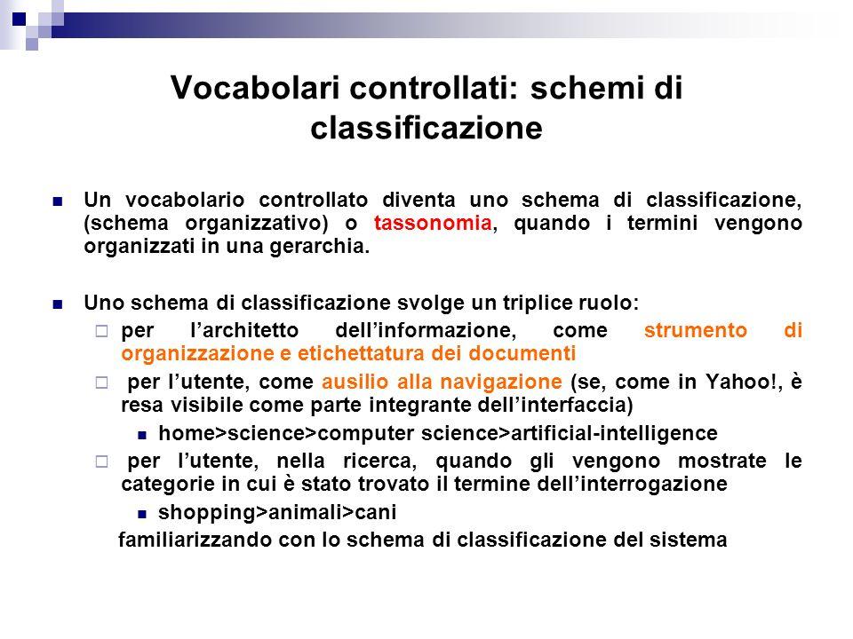Vocabolari controllati: schemi di classificazione Un vocabolario controllato diventa uno schema di classificazione, (schema organizzativo) o tassonomi