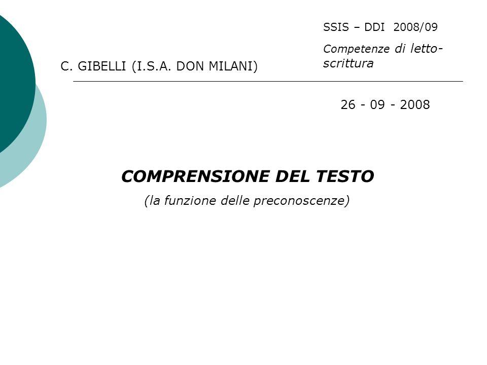 COMPRENSIONE DEL TESTO (la funzione delle preconoscenze) 26 - 09 - 2008 C.