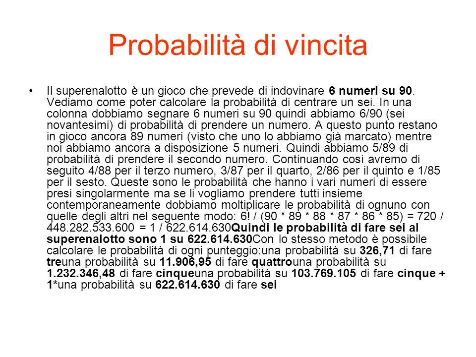 Probabilità di vincita Il superenalotto è un gioco che prevede di indovinare 6 numeri su 90.