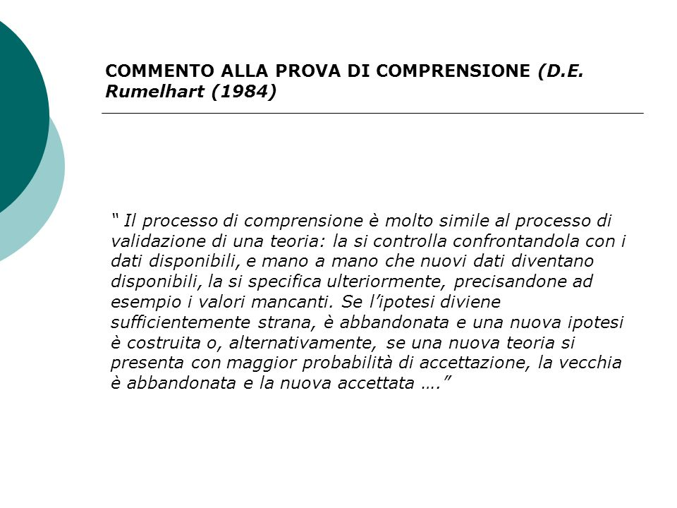 COMMENTO ALLA PROVA DI COMPRENSIONE (D.E. Rumelhart (1984) Il processo di comprensione è molto simile al processo di validazione di una teoria: la si