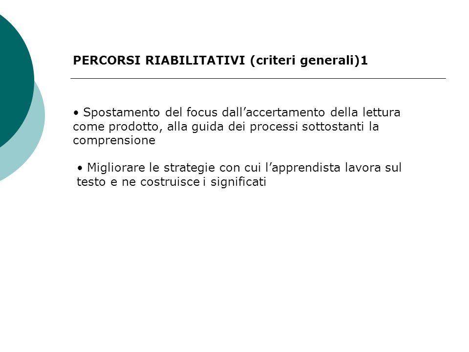PERCORSI RIABILITATIVI (criteri generali)1 Spostamento del focus dallaccertamento della lettura come prodotto, alla guida dei processi sottostanti la comprensione Migliorare le strategie con cui lapprendista lavora sul testo e ne costruisce i significati