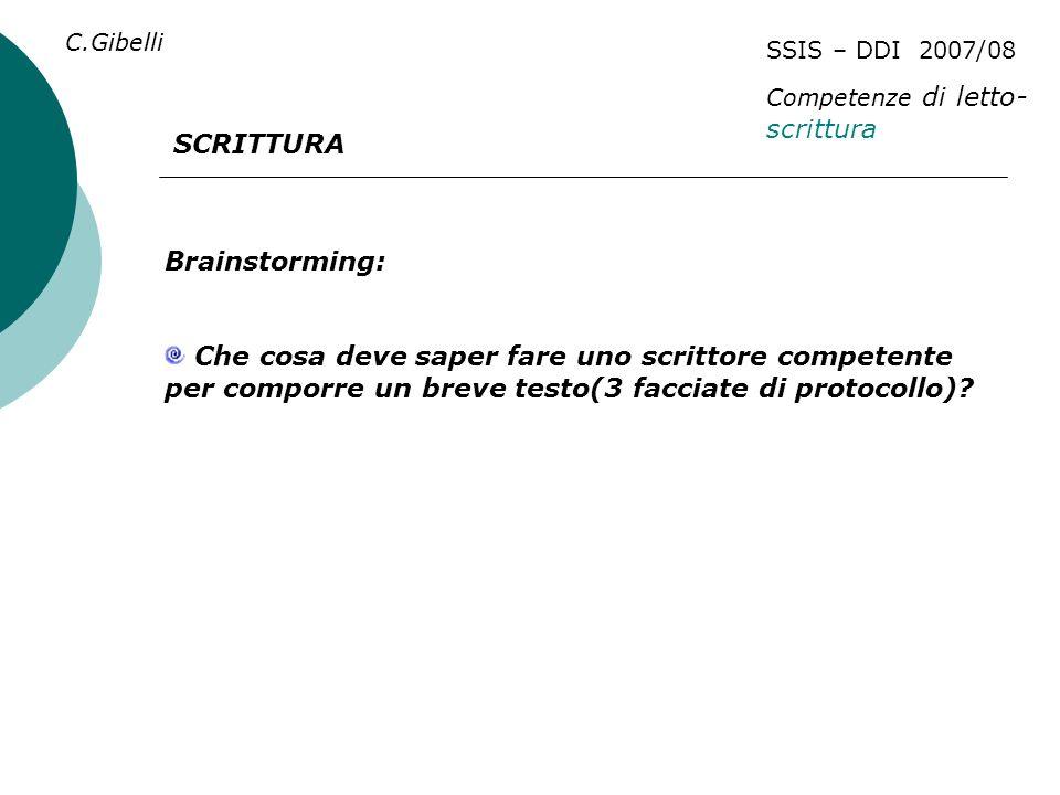SSIS – DDI 2007/08 Competenze di letto- scrittura C.Gibelli SCRITTURA Brainstorming: Che cosa deve saper fare uno scrittore competente per comporre un