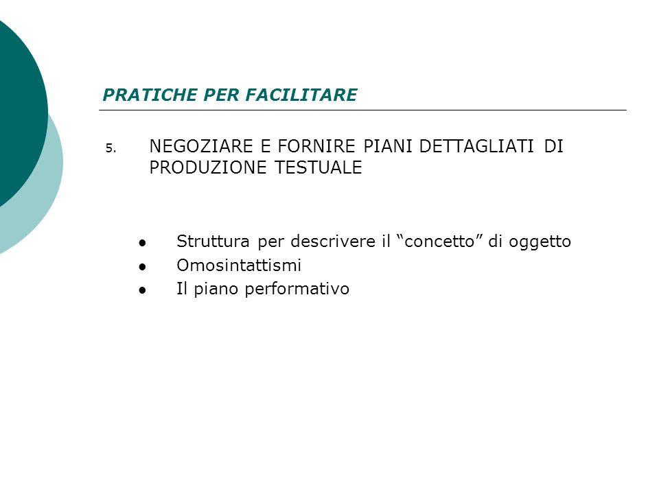 5. NEGOZIARE E FORNIRE PIANI DETTAGLIATI DI PRODUZIONE TESTUALE Struttura per descrivere il concetto di oggetto Omosintattismi Il piano performativo P