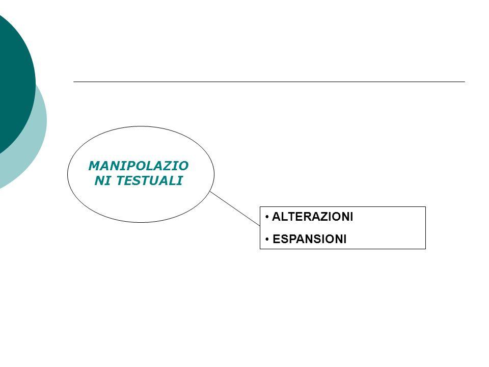 MANIPOLAZIO NI TESTUALI ALTERAZIONI ESPANSIONI