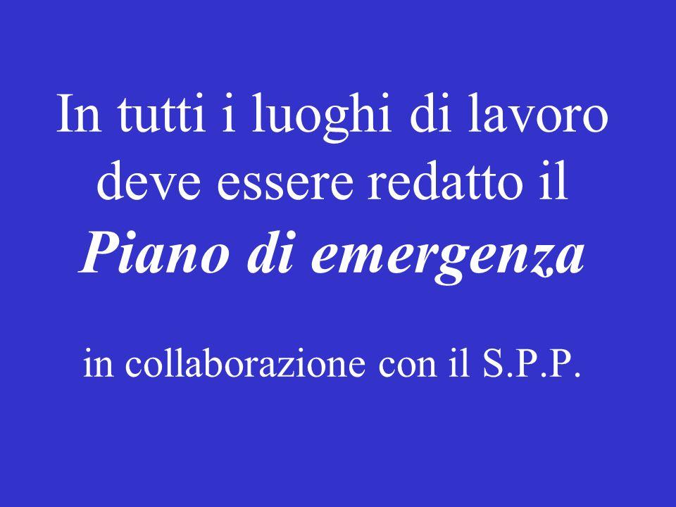 In tutti i luoghi di lavoro deve essere redatto il Piano di emergenza in collaborazione con il S.P.P.