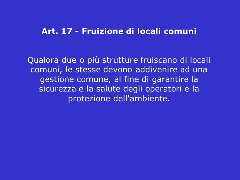 Art. 17 - Fruizione di locali comuni Qualora due o più strutture fruiscano di locali comuni, le stesse devono addivenire ad una gestione comune, al fi