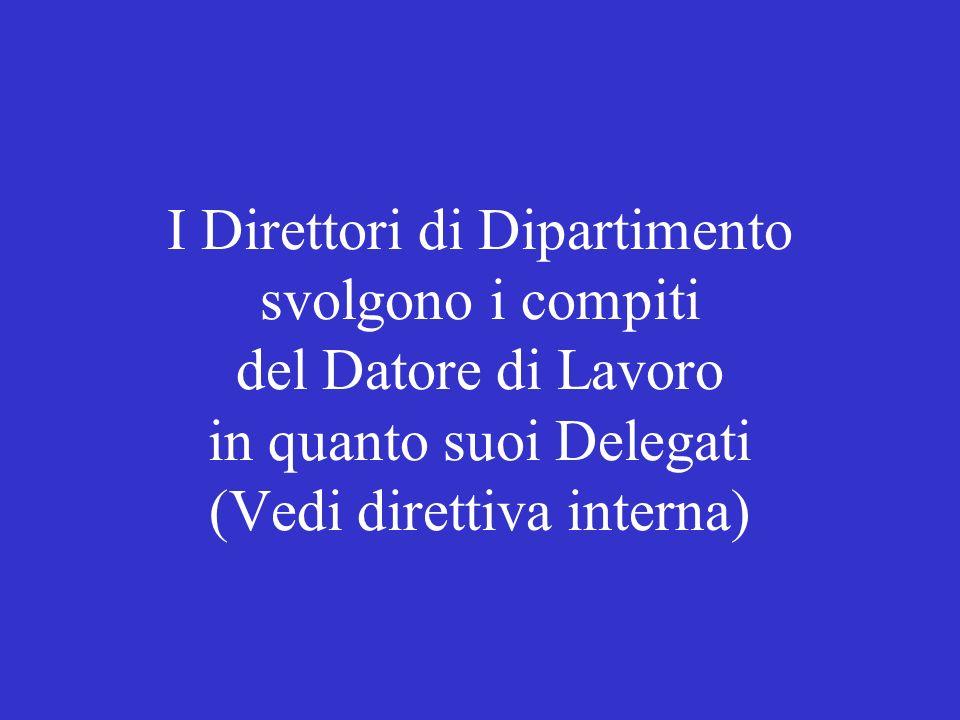I Direttori di Dipartimento svolgono i compiti del Datore di Lavoro in quanto suoi Delegati (Vedi direttiva interna)