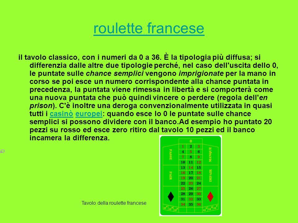 roulette francese il tavolo classico, con i numeri da 0 a 36. È la tipologia più diffusa; si differenzia dalle altre due tipologie perché, nel caso de