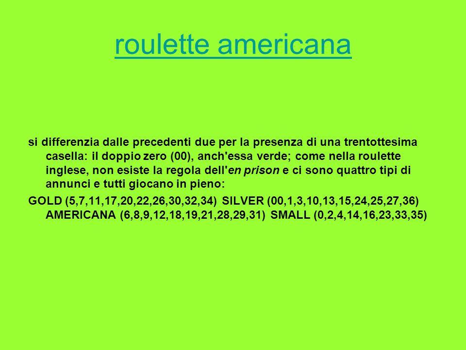 roulette americana si differenzia dalle precedenti due per la presenza di una trentottesima casella: il doppio zero (00), anch'essa verde; come nella