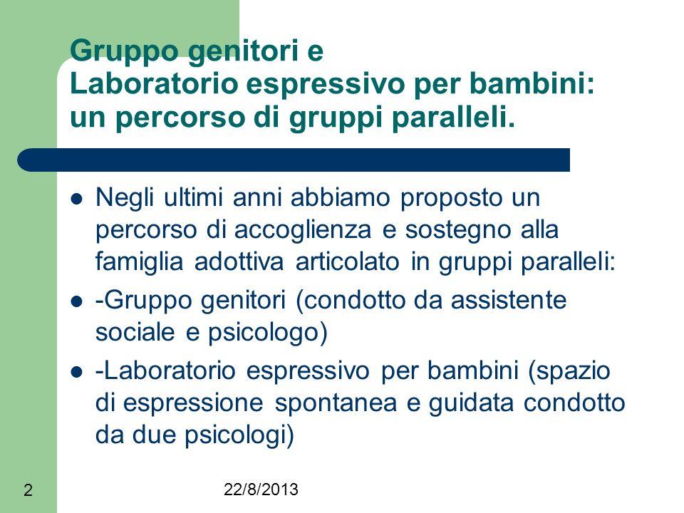 22/8/2013 2 Gruppo genitori e Laboratorio espressivo per bambini: un percorso di gruppi paralleli. Negli ultimi anni abbiamo proposto un percorso di a