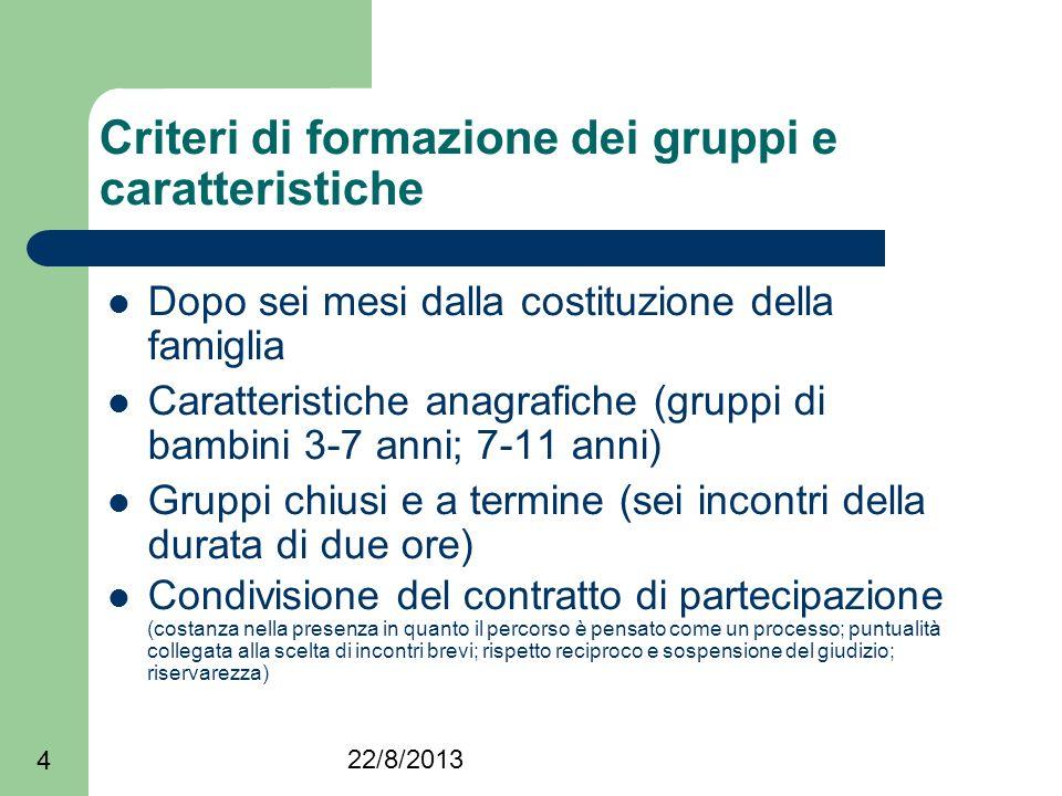 22/8/2013 4 Criteri di formazione dei gruppi e caratteristiche Dopo sei mesi dalla costituzione della famiglia Caratteristiche anagrafiche (gruppi di