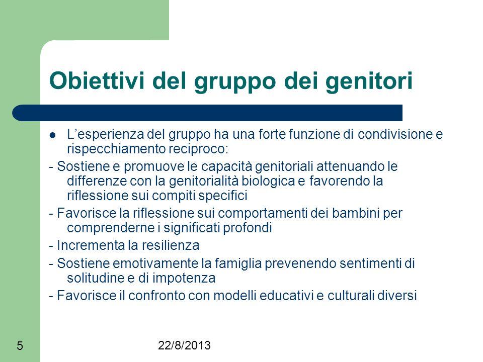 22/8/2013 5 Obiettivi del gruppo dei genitori Lesperienza del gruppo ha una forte funzione di condivisione e rispecchiamento reciproco: - Sostiene e p