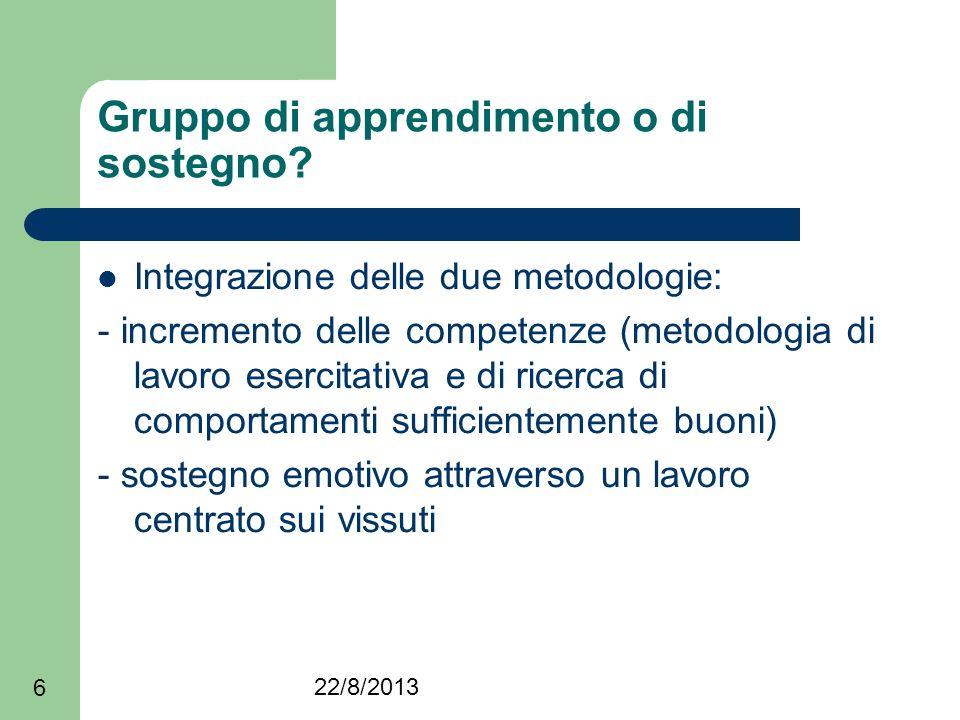 22/8/2013 6 Gruppo di apprendimento o di sostegno? Integrazione delle due metodologie: - incremento delle competenze (metodologia di lavoro esercitati