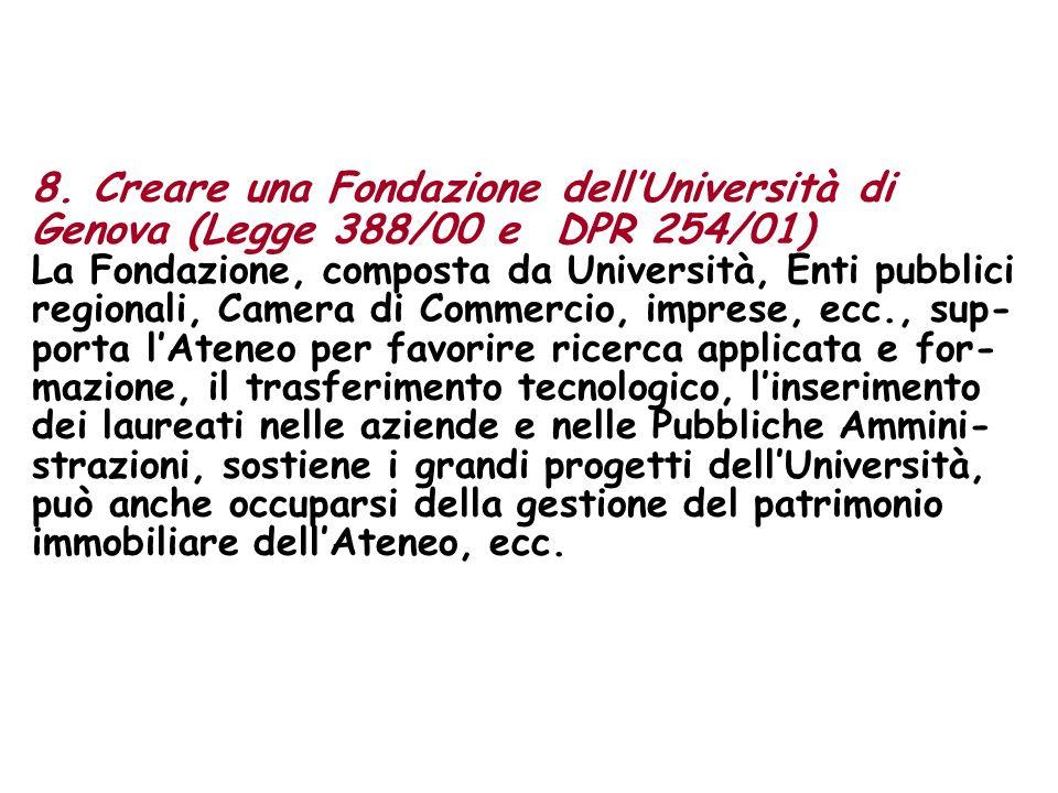 8. Creare una Fondazione dellUniversità di Genova (Legge 388/00 e DPR 254/01) La Fondazione, composta da Università, Enti pubblici regionali, Camera d