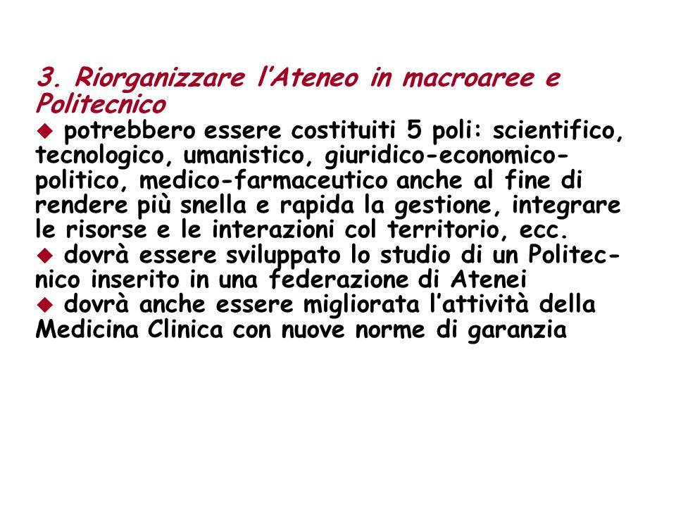 3. Riorganizzare lAteneo in macroaree e Politecnico potrebbero essere costituiti 5 poli: scientifico, tecnologico, umanistico, giuridico-economico- po