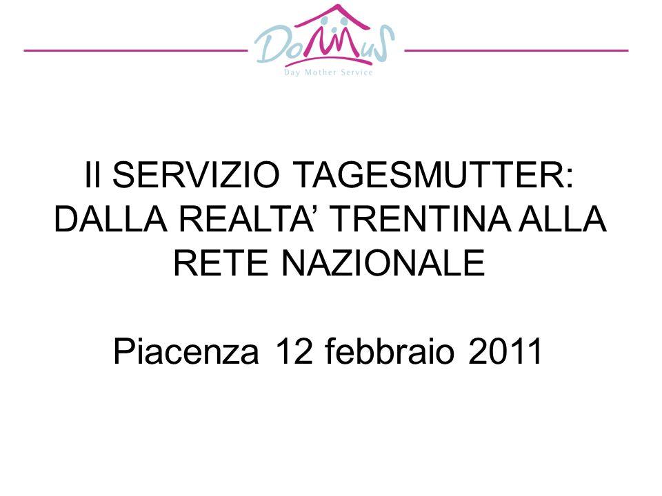 Il SERVIZIO TAGESMUTTER: DALLA REALTA TRENTINA ALLA RETE NAZIONALE Piacenza 12 febbraio 2011