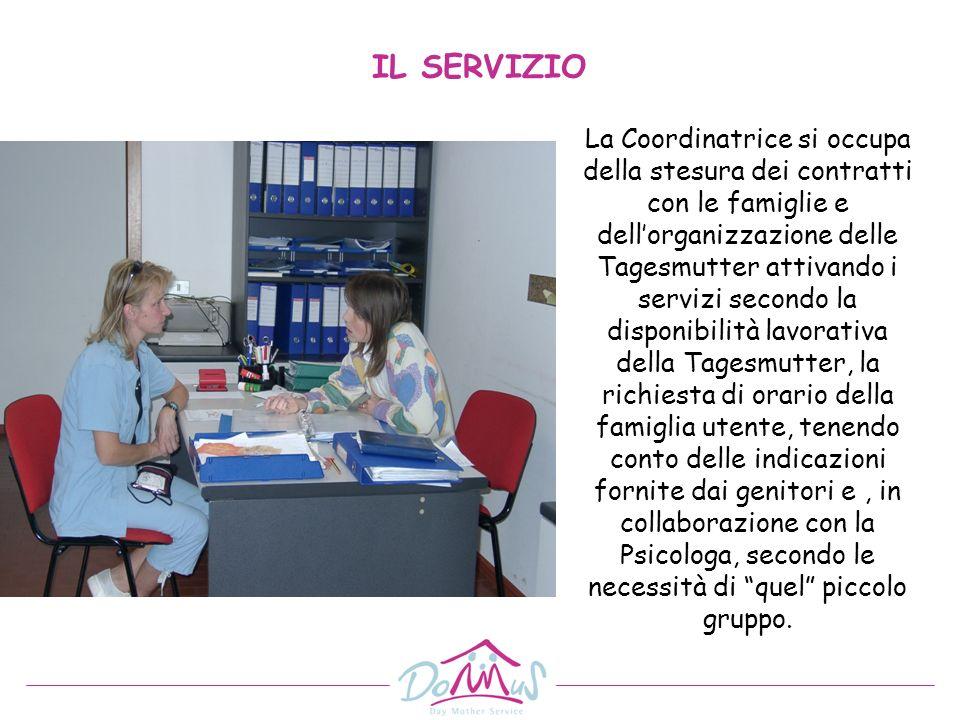 La Coordinatrice si occupa della stesura dei contratti con le famiglie e dellorganizzazione delle Tagesmutter attivando i servizi secondo la disponibi