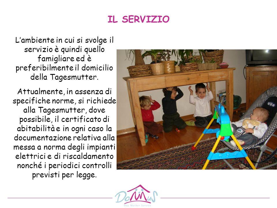 Lambiente in cui si svolge il servizio è quindi quello famigliare ed è preferibilmente il domicilio della Tagesmutter. Attualmente, in assenza di spec