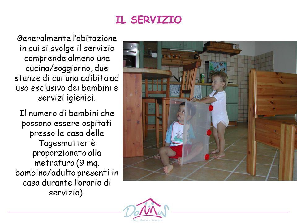 Generalmente labitazione in cui si svolge il servizio comprende almeno una cucina/soggiorno, due stanze di cui una adibita ad uso esclusivo dei bambin