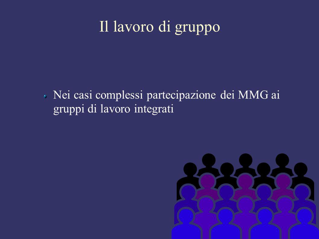 Il lavoro di gruppo Nei casi complessi partecipazione dei MMG ai gruppi di lavoro integrati