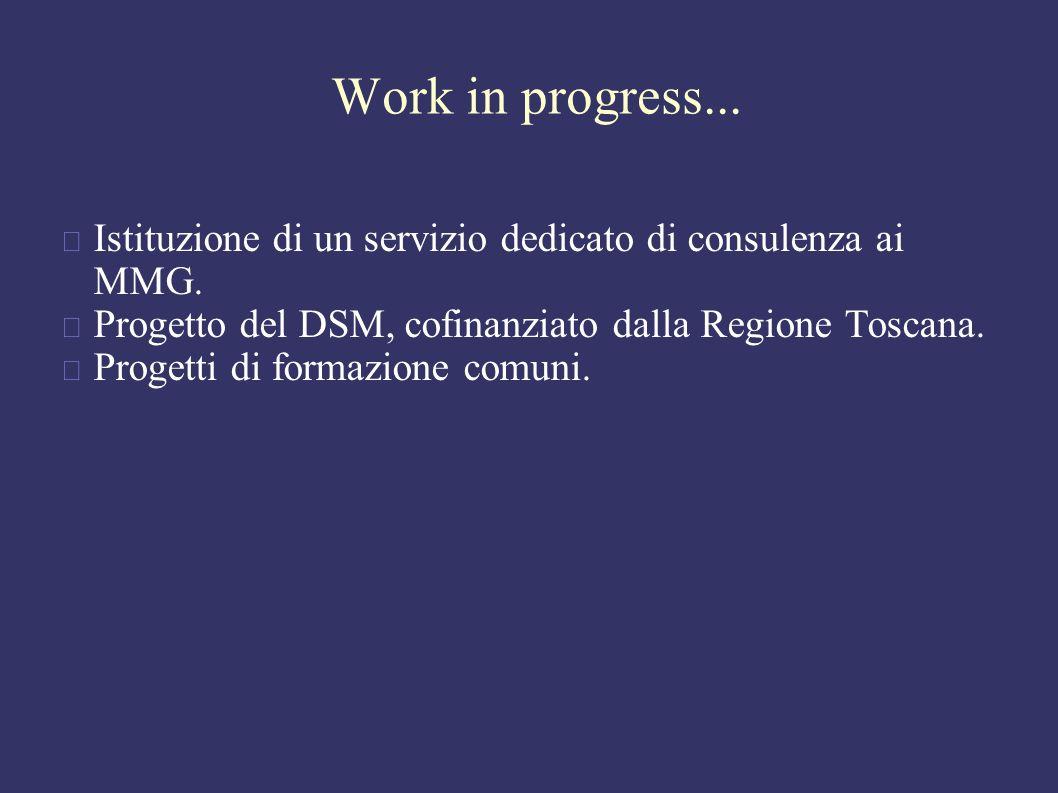Work in progress... Istituzione di un servizio dedicato di consulenza ai MMG.