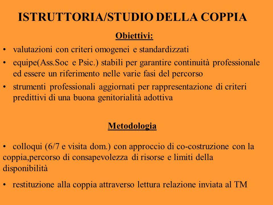 ISTRUTTORIA/STUDIO DELLA COPPIA Obiettivi: valutazioni con criteri omogenei e standardizzati equipe(Ass.Soc e Psic.) stabili per garantire continuità