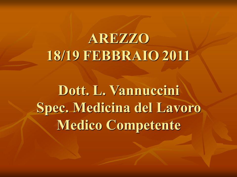 AREZZO 18/19 FEBBRAIO 2011 Dott. L. Vannuccini Spec. Medicina del Lavoro Medico Competente
