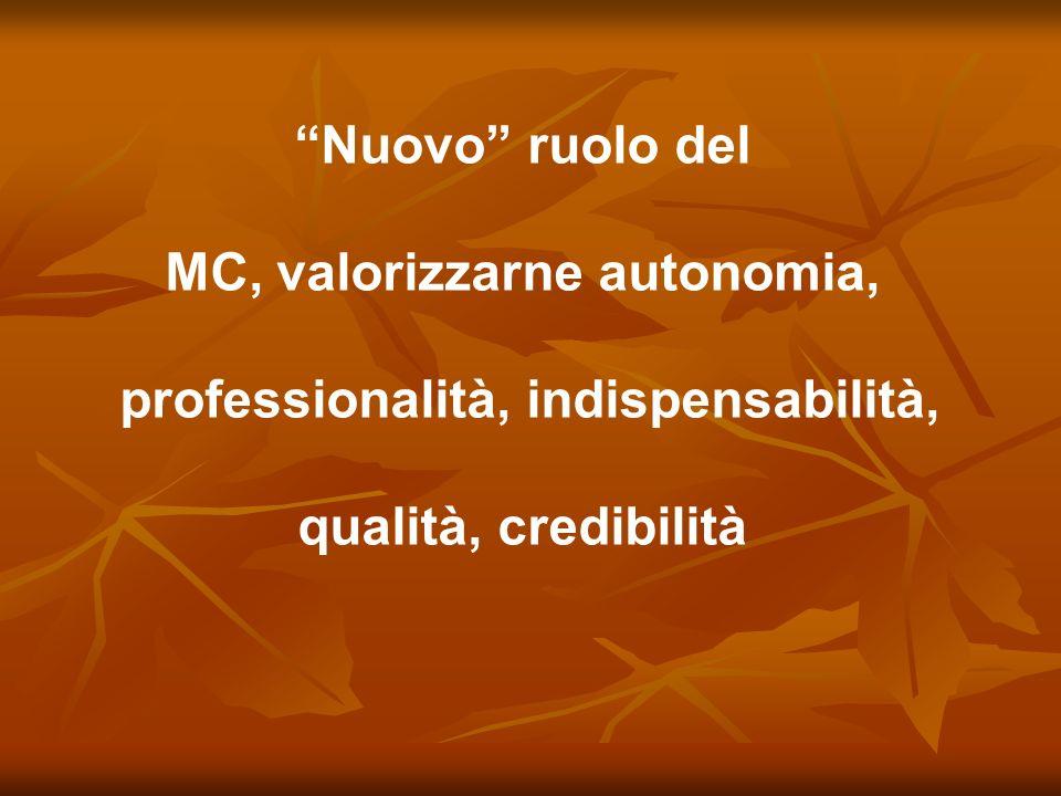 Nuovo ruolo del MC, valorizzarne autonomia, professionalità, indispensabilità, qualità, credibilità