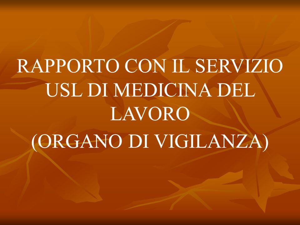 RAPPORTO CON IL SERVIZIO USL DI MEDICINA DEL LAVORO (ORGANO DI VIGILANZA)