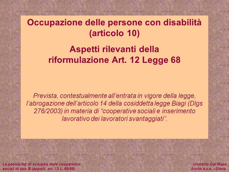 Occupazione delle persone con disabilità (articolo 10) Aspetti rilevanti della riformulazione Art. 12 Legge 68 Prevista, contestualmente allentrata in