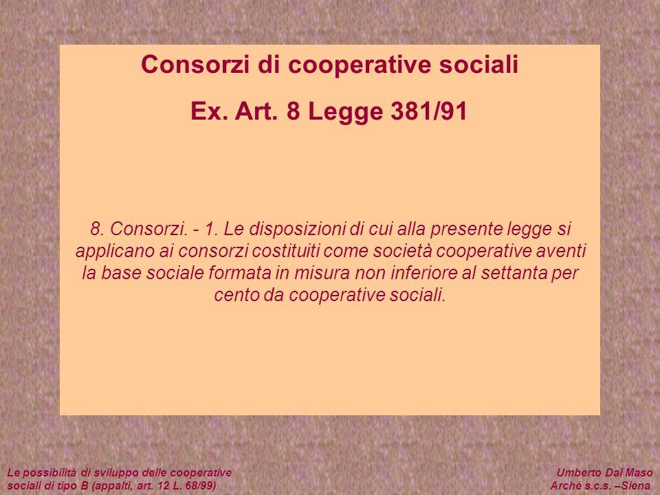 Consorzi di cooperative sociali Ex. Art. 8 Legge 381/91 8. Consorzi. - 1. Le disposizioni di cui alla presente legge si applicano ai consorzi costitui