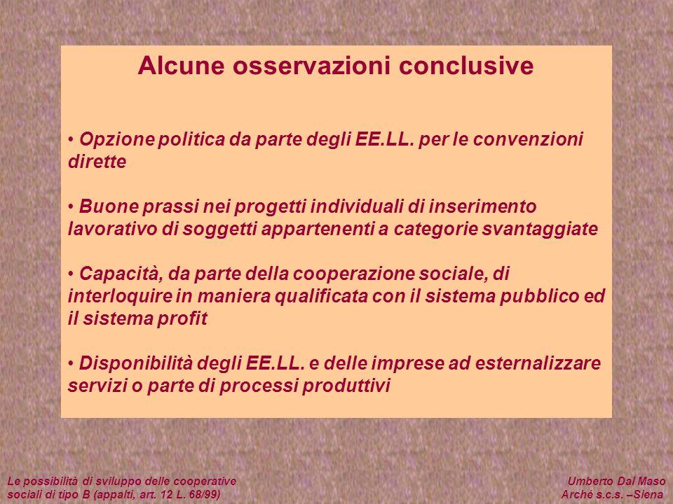 Alcune osservazioni conclusive Opzione politica da parte degli EE.LL. per le convenzioni dirette Buone prassi nei progetti individuali di inserimento