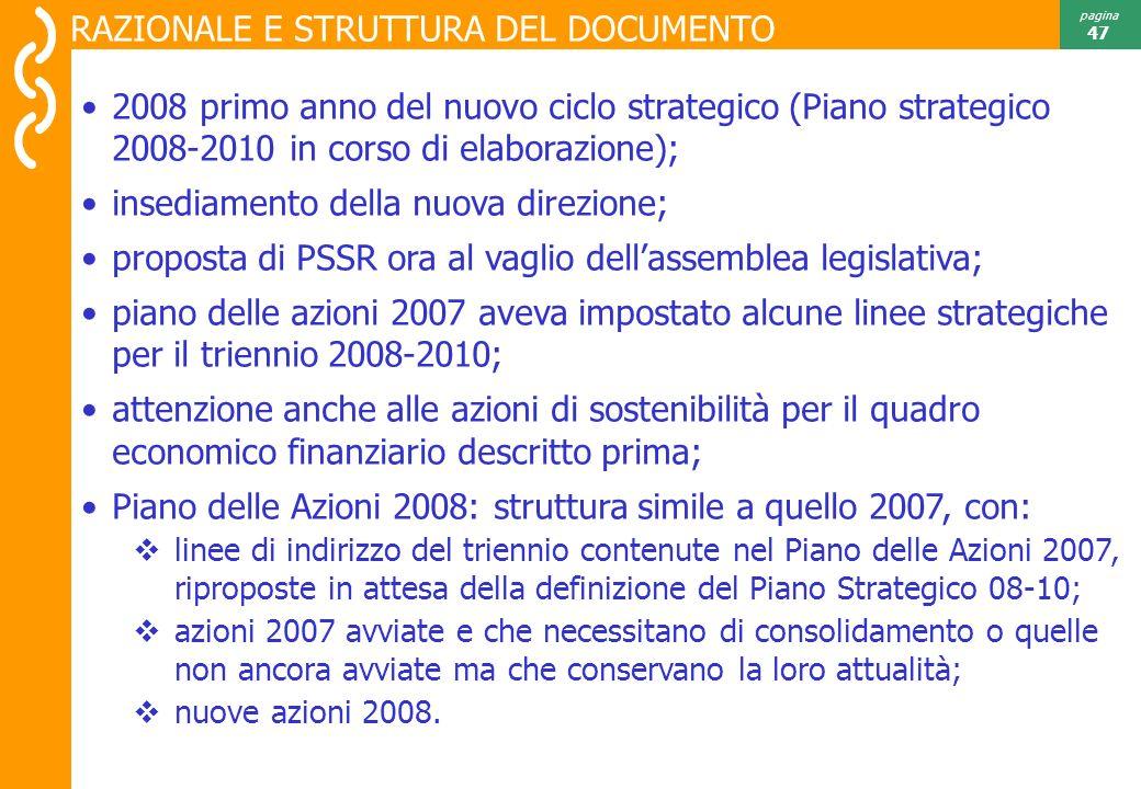 Risultati 2007 pagina 47 2008 primo anno del nuovo ciclo strategico (Piano strategico 2008-2010 in corso di elaborazione); insediamento della nuova direzione; proposta di PSSR ora al vaglio dellassemblea legislativa; piano delle azioni 2007 aveva impostato alcune linee strategiche per il triennio 2008-2010; attenzione anche alle azioni di sostenibilità per il quadro economico finanziario descritto prima; Piano delle Azioni 2008: struttura simile a quello 2007, con: linee di indirizzo del triennio contenute nel Piano delle Azioni 2007, riproposte in attesa della definizione del Piano Strategico 08-10; azioni 2007 avviate e che necessitano di consolidamento o quelle non ancora avviate ma che conservano la loro attualità; nuove azioni 2008.