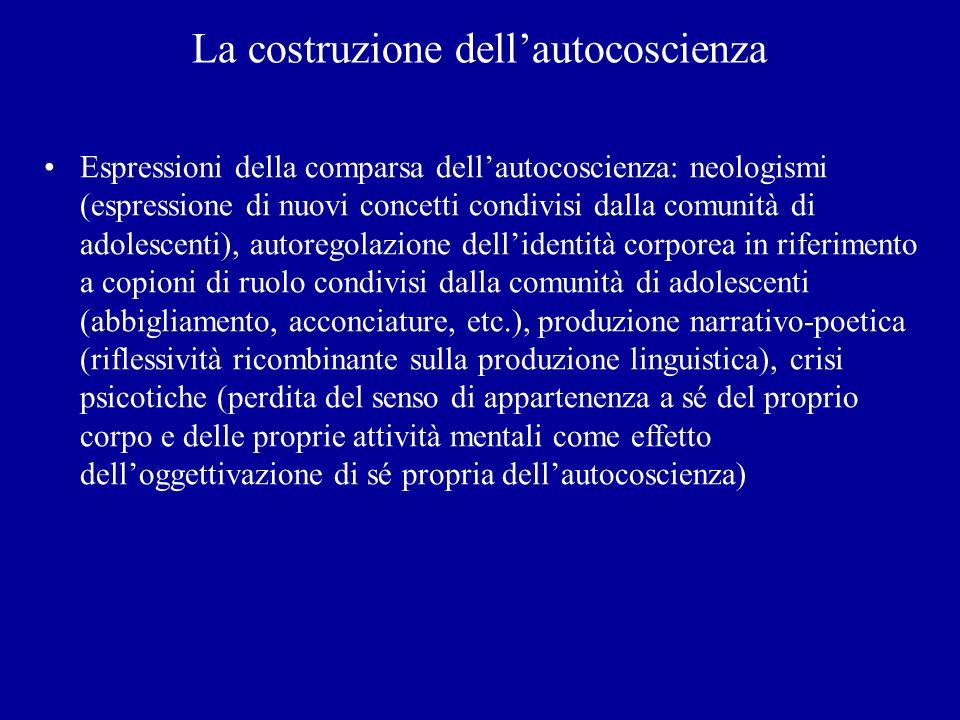 La costruzione dellautocoscienza Espressioni della comparsa dellautocoscienza: neologismi (espressione di nuovi concetti condivisi dalla comunità di a