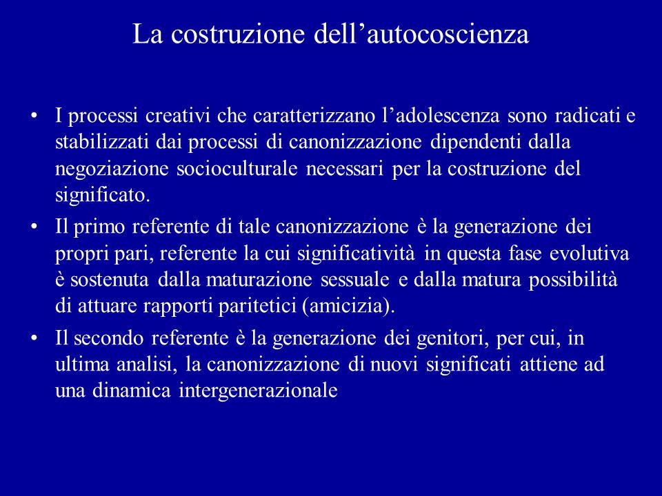 La costruzione dellautocoscienza I processi creativi che caratterizzano ladolescenza sono radicati e stabilizzati dai processi di canonizzazione dipen
