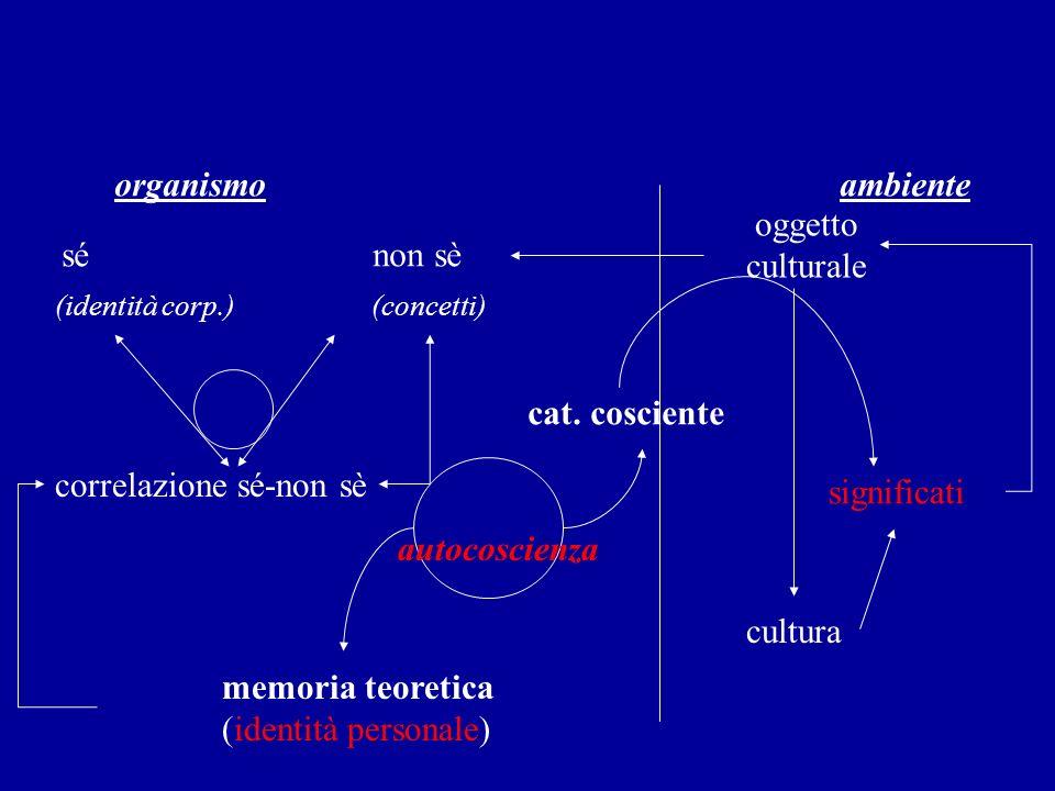 organismo ambiente sé non sè oggetto culturale (identità corp.) (concetti) correlazione sé-non sè cat. cosciente autocoscienza memoria teoretica (iden