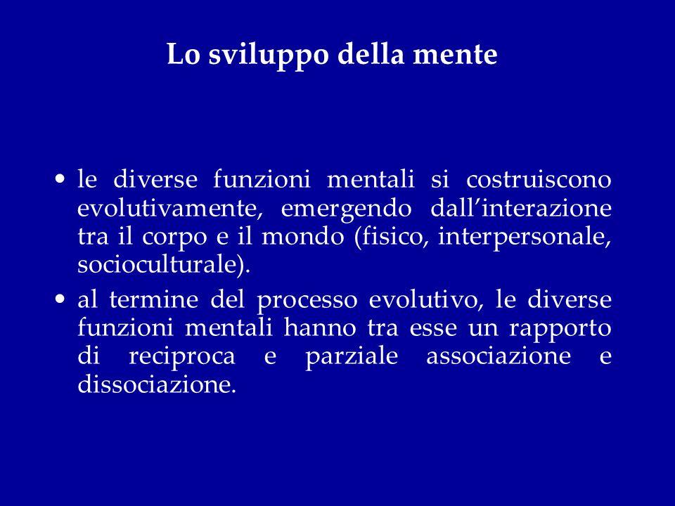 Lo sviluppo della mente le diverse funzioni mentali si costruiscono evolutivamente, emergendo dallinterazione tra il corpo e il mondo (fisico, interpe