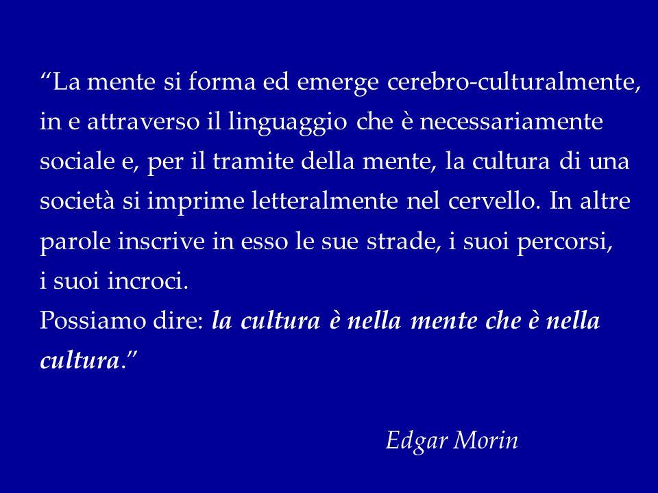 La mente si forma ed emerge cerebro-culturalmente, in e attraverso il linguaggio che è necessariamente sociale e, per il tramite della mente, la cultu