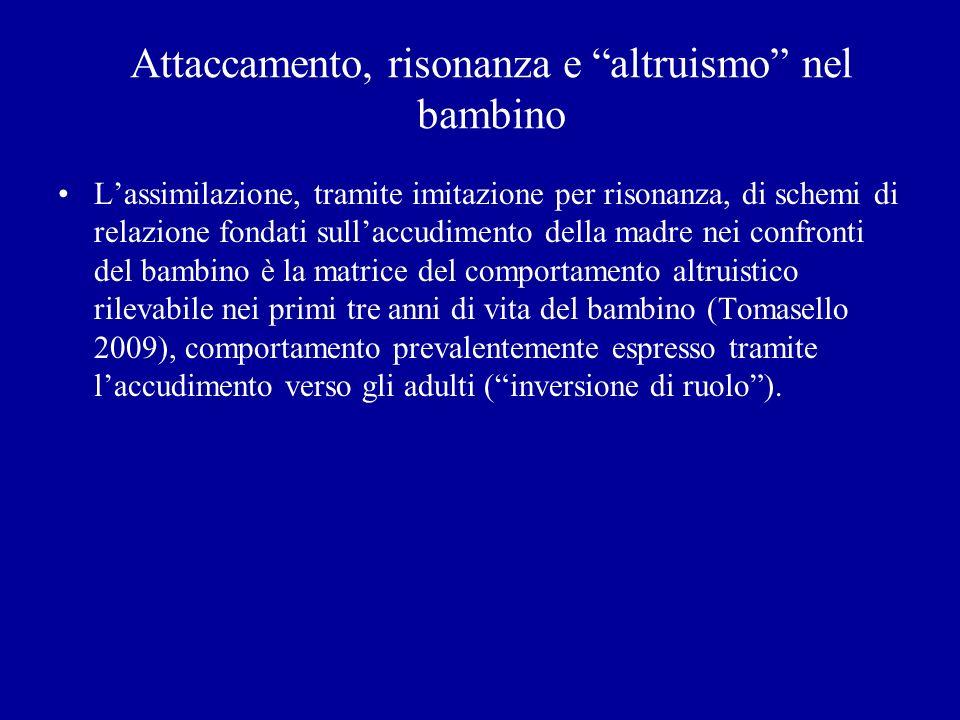 Attaccamento, risonanza e altruismo nel bambino Lassimilazione, tramite imitazione per risonanza, di schemi di relazione fondati sullaccudimento della